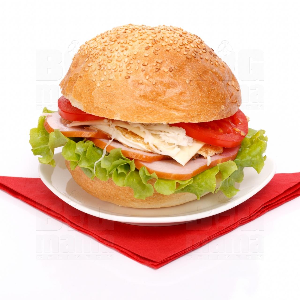 Product #52 image - Sandviş mare cu jambon afumat, caşcaval şi ouă